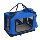 ALEKO PCBLUE02L-AP Heavy Duty Large Collapsible Pet Traveler Carrier with Soft Cozy Insert Mat - 27.5 x 20 x 20 Inches - Blue