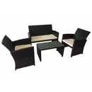 ALEKO RF01MA Indoor Outdoor Coffee Table Malabo Rattan 4 Piece Furniture Set, Black Color Set with Cream Color Cushions
