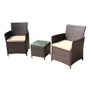 ALEKO RTF006BR-AP Rattan Wicker Furniture 3-Piece Indoor/Outdoor Table Set - Brown with Cream Cushions