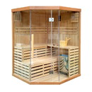 ALEKO SA3CMUR 4 Person Canadian Hemlock Wood Indoor Wet Dry Sauna with 4.5 KW ETL Electrical Heater