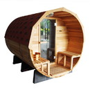 ALEKO SB5ABCE-AP Red Cedar Barrel Sauna with Panoramic View - 4.5 kW ETL Certified - 5 Person