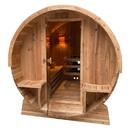 ALEKO SB6CED-AP Outdoor Rustic Cedar Barrel Steam Sauna - Front Porch Canopy - Etl Certified - 6 Person