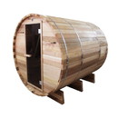 ALEKO SB6CEDAR Outdoor or Indoor Rustic Western Red Cedar Wet Dry Barrel Sauna - 6kW ETL Certified Heater - 6 person