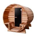 ALEKO SB8CEDARCP-AP Outdoor or Indoor Western Red Cedar Wet Dry Barrel Sauna - Front Porch Canopy - 9 kW ETL Certified Heater - 8 Person