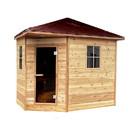 ALEKO SKD8RCED-AP Canadian Cedar Wet Dry Outdoor Sauna with Asphalt Roof - 9 kW ETL Certified Heater - 8 Person