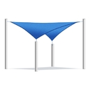ALEKO SS03REC18X18BL-AP Waterproof Sun Shade Sail - Square - 18 x 18 Feet - Blue