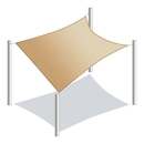 ALEKO Rectangle 20 X 16 Feet (6 X 4.9 m) Beige Color Fabric Patio Outdoor Sun Sail Shade