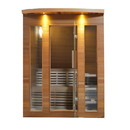 ALEKO STCE4DOVE-AP Clear Cedar Indoor Wet Dry Sauna with Exterior Lights - 4.5 kW ETL Certified Heater - 4 Person