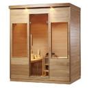 ALEKO STHE4AMUR-AP Canadian Hemlock Indoor Wet Dry Sauna with Exterior Lights - 4.5 kW ETL Certified Heater - 4 Person