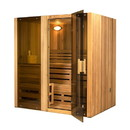 ALEKO STI4CED Canadian Cedar Indoor Wet or Dry Sauna Steam Room - 4.5 kW ETL Certified Heater - 4 Person