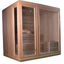 ALEKO STI6LAHTI 6 Person Canadian Hemlock Wood Indoor Wet Dry Sauna with 6 KW ETL Electrical Heater