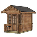 ALEKO WLCPI03-AP Wooden DIY Outdoor Studio-Home Cabin and Cottage Space with Front Porch