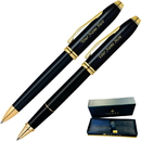 Cross GP-1283 Townsend Black with Gold Trim Ballpoint and Rollerball Pen Set