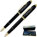 Cross GP-1284 Townsend Black Lacquer Rollerball and Fountain Pen Set
