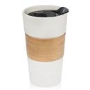 Godinger 18108 Bamboo Band 12Oz White Mug/Lid