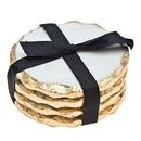 Godinger 61860 S/4 Round Coasters Gold Edge