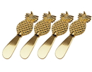 Godinger 62022 S/4 Gold Pineapple Spreaders
