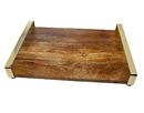 Godinger 64002 Wood Tray Gold Handles Large