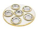 Godinger 64600 White Marble Gld Trim Seder