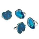Godinger 70926 S/4 Agate Napkin Rings - Blue