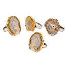 Godinger 70927 S/4 Agate Napkin Rings-natural
