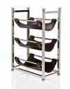 Godinger 9322 3 Bottle Wine Rack Brown Leath