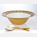 Godinger 9560 Greek Key Salad Bowl & Servers