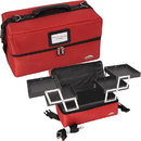 Ver Beauty C3011NLRD Red 2-Tiers Accordion Trays Soft-Sided Professional Makeup Case - C3011