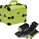 Sunrise C3028PVGN 3-Tiers Easy-Slide Expandable Trays Green Leather-Like Pro Makeup Beauty Case - C3028