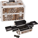Ver Beauty E3301LPBR Brown Interchangeable Easy Slide Tray Leopard Textured Printing Professional Aluminum Cosmetic Makeup Case With Dividers - E3301
