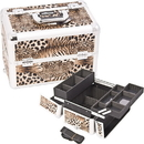 Ver Beauty E3302LPBR Borwn Interchangeable Easy Slide & Extendable Tray Leopard Textured Printing Professional Aluminum Cosmetic Makeup Case With Dividers - E3302