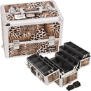 Ver Beauty E3304LPBR Brown Interchangeable 6-Tiers Extendable Tray Leopard Textured Printing Professional Aluminum Cosmetic Makeup Case With Dividers - E3304