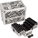 Ver Beauty E3304ZBWH White Interchangeable 6-Tiers Extendable Tray Zebra Textured Printing Professional Aluminum Cosmetic Makeup Case With Dividers - E3304