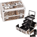 Ver Beauty E3305LPBR Brown Interchangeable 3-Tiers Extendable Tray Leopard Textured Printing Professional Aluminum Cosmetic Makeup Case With Mirror - E3305