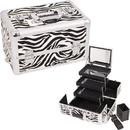 Ver Beauty E3305ZBWH White Interchangeable 3-Tiers Extendable Tray Zebra Textured Printing Professional Aluminum Cosmetic Makeup Case With Mirror - E3305