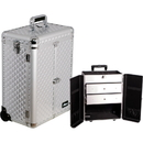Ver Beauty E6306DMSL Silver Diamond Pattern Interchangeable Professional Rolling Aluminum Cosmetic Makeup Case French Door Opening With Large Drawers - E6306