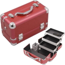 Hiker HK3101CRRD Red Crocodile Printing Texture 3-Tiers Extendable Trays Professional Cosmetic Makeup Train Case With Brush Holder - Hk3101