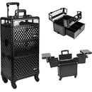 Sunrise Black Diamond Pattern 3-Tiers Accordion Trays 4-Wheels Professional Rolling Aluminum Cosmetic Makeup Case and Nail Case with Clear Panel Foundation Holder & Dividers - I31064