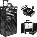 Sunrise Black Diamond Professional Rolling Aluminum Cosmetic Makeup Case French Door Style with Split Drawers and Nail Case with Clear Panel Foundation Holder & Dividers - I31065