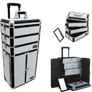 Ver Beauty I3366KLWB White Krystal Professional Rolling Aluminum Cosmetic Makeup Case French Door Opening With Large Drawers And Stackable Trays With Dividers - I3366