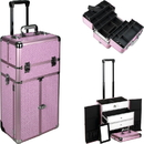 Ver Beauty I3466KLPK Pink Krystal Professional Rolling Aluminum Cosmetic Makeup French Door Opening Case with Large Drawers and 6-Tiers Extendable Trays with Dividers - I3466