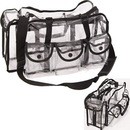 Casemetic PC01BK Large Carry Clear Set Bag With 6 External Pockets, Tissue Holder And Shoulder Strap - Pc01