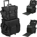 2-in-1 All Black Nylon Soft_Sided Professional Rolling Makeup Case with Drawers and Side Pockets - T5173
