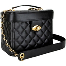 Ver Beauty VB002-31 Black Quilted Gold Trunk Bag with Brush Holder and Removable Shoulder Strap - VB002