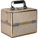 Ver Beauty VK002-511 Champagne Glitter 2-Tiers Extendable Trays Makeup Train Case - VK002