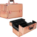 Ver Beauty VK003-75 Rose Gold Dot Easy Slide Extendable Trays Professional Cosmetic Makeup Case with Dividers - VK003