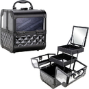 Ver Beauty VK005-82 Black Diamond Armored Acrylic 2-Tiers Extendable Trays Cosmetic Makeup Train Case with Mirror - VK005