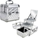 Ver Beauty VK005-84 Silver Diamond Armored Acrylic 2-Tiers Extendable Trays Cosmetic Makeup Train Case with Mirror - VK005