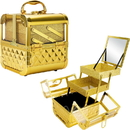 Ver Beauty VK005-87 Gold Diamond Armored Acrylic 2-Tiers Extendable Trays Cosmetic Makeup Train Case with Mirror - VK005