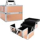 Ver Beauty VK006-25 Rose Gold 2-Tiers Extendable Trays Makeup Train Case - VK006